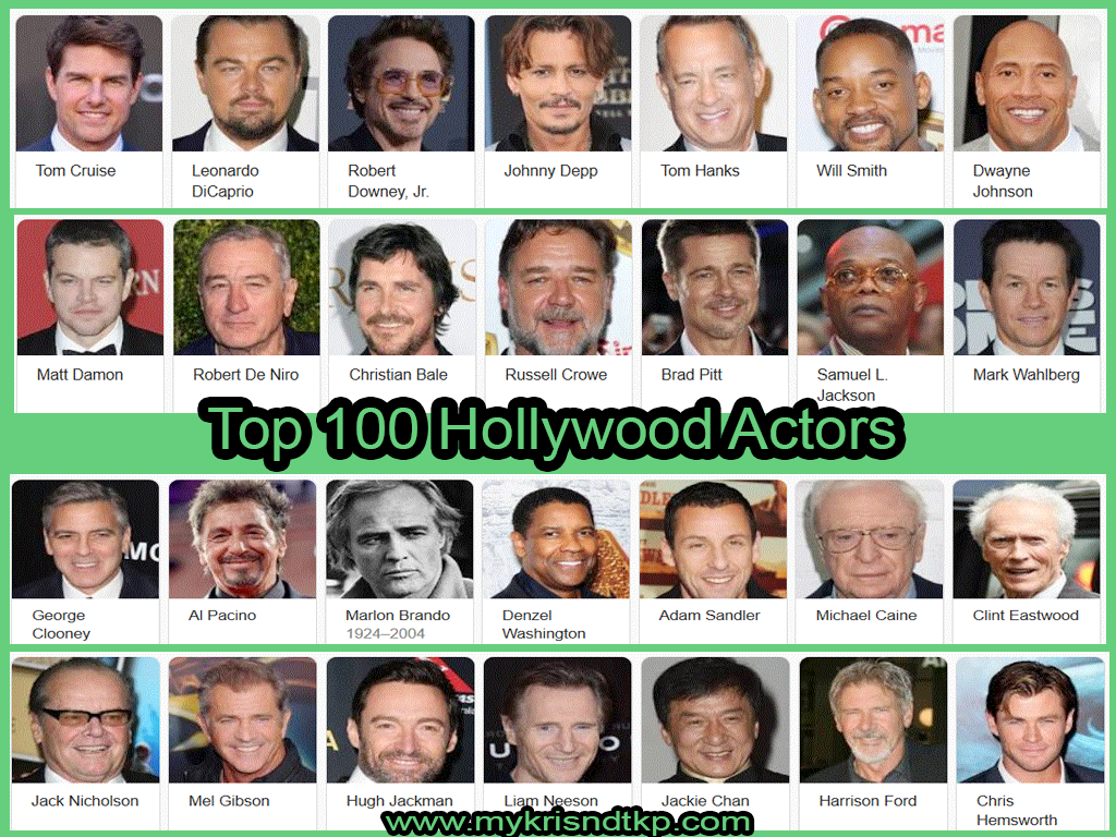 Top 100 Hollywood Actors 2018-2019